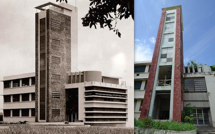 En la imagen de la izquierda, la Planta Piloto de Ron recién inaugurada en el año 1953. (Suministrada) En la derecha, una foto actual del edificio que albergaba la Planta Piloto. (Ricardo Alcaraz / Diálogo)