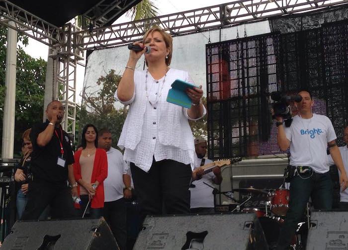 Wanda Rolón durante la marcha contra la educación de perspectiva de género.  (Facebook)
