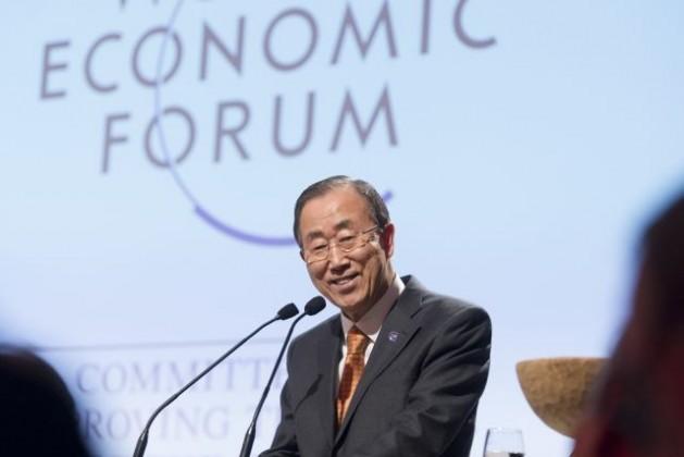 El secretario general Ban Ki-moon en el Foro Económico Mundial en Davos, Suiza, el 23 de enero.