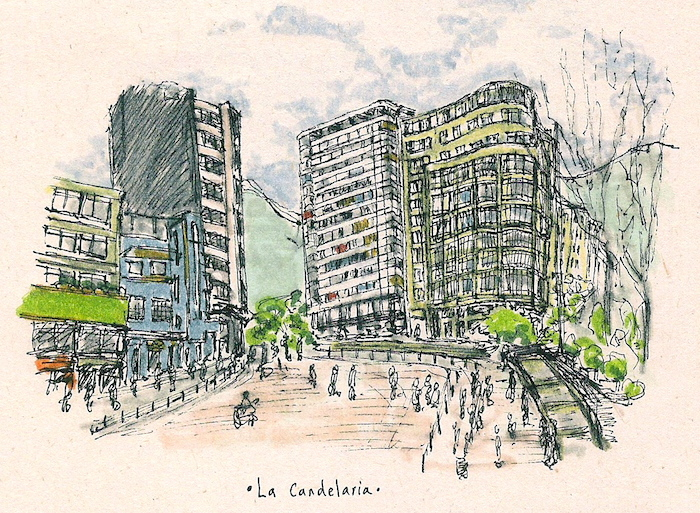 Eje ambiental en la Avenida Jiménez de Bogotá, Colombia. (Ilustración por Lizeth León)