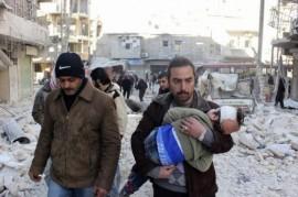 Las consecuencias de un bombardeo en Alepo, Siria, en febrero de 2014. Crédito: Freedom House