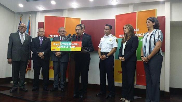 Representantes de las agencias que estarán manejando la seguridad en las Justas LAI.(Twitter)