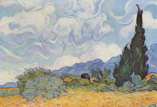 Campo de trigo con cipreses (1887) Van Gogh