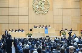 La Asamblea Mundial de la Salud, durante la intervención en la jornada inaugural de su 68 sesión de la canciller alemana, Angela Merkel.  (OMS)