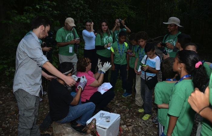Los niños tuvieron la oportunidad de conocer sobre los murcielagos por parte de la fundación Quirópetara, orgranización que se dedica a investigar sobre estos animales. (David Pérez/Diálogo)