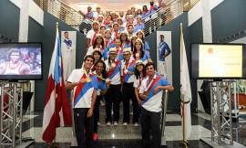 Medallistas e integrantes de la Delegación de Puerto Rico presentes en la conferencia de prensa donde el COPUR  rindió cuentas al país del desempeño de los atletas en  Toronto. (Quique Aparicio COPUR)