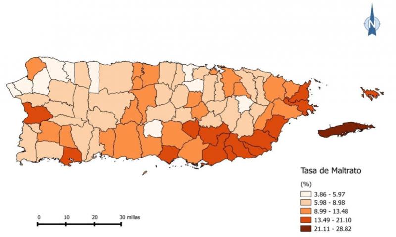 En el mapa se pueden observar los municipios en los que se registró la mayor cantidad de casos del maltrato durante 2012-2013, siendo los pueblos con el color más oscurecido, los de mayor incidencia. (Suministrada)