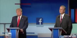 De izquierda a derecha, el magnate Donald Trump y el gobernador del estado de la Florida Jeb Bush, en el primer debate presidencial de los candidatos del Partido Republicano. (YouTube)