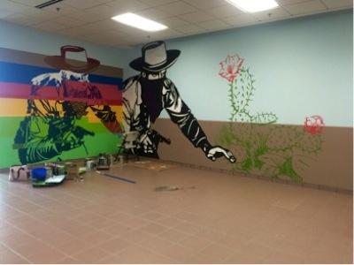 """""""Cowboy glitch"""" de Juan Ramón Gutiérrez es uno de los muros que adornan la institución. (Suministrada)"""