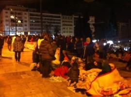 Refugiados sirios protestan en Atenas para que se les permita viajar a otros países europeos, en noviembre de 2014. (Apostolis Fotiadis/IPS)