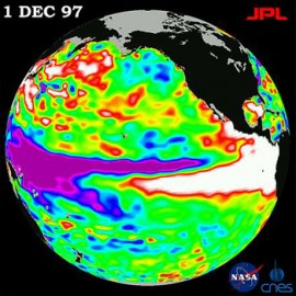 El Niño de 1997-98 observado por TOPEX / Poseidon. – En.wikipedia.org