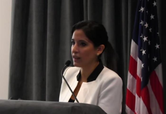 La licenciada Anabelle Torres  en el anfiteatro del Departamento de Estado de Puerto Rico. (Youtube)