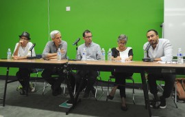De izquierda a derecha: Juan Carlos Quiñones; Rafah Acevedo; Manolo Núñez Negrón; Marta Aponte Alsina y Carlos Fonseca. (Diálogo / Ricardo Alcaraz)