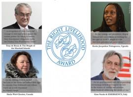Activistas de Canadá, Italia, Islas Marshall y Uganda fueron los galardonados de este año con los premios Right Livelihood, también conocidos como los Nobel alternativos, según se anunció este jueves en Estocolmo. (Suministrada)