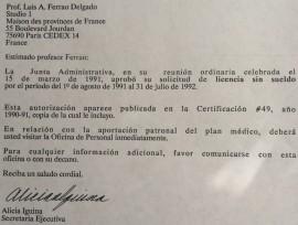 Licencia sin sueldo de Luis A. Ferrao.