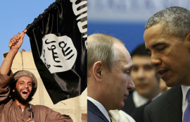 A la izquierda, un simpatizante de ISIS ondea una bandera. A la derecha, Putin y Obama conversan. (Fotomontaje por Diálogo. Fotos: natsentinel.com y wsj.com)