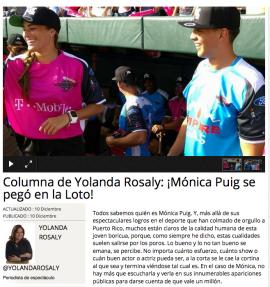 Columna sobre Mónica Puig en el periodico Metro.