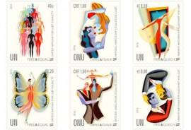 """Sellos de la campaña """"Libres e Iguales"""" de la ONU en defensa de los derechos de las personas LGBT, 2016. Crédito: Administración Postal de la ONU."""