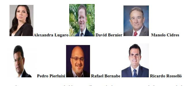 Candidatos a la gobernación. (Suministrada)