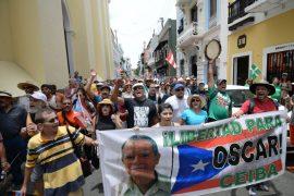 Marcha por Oscar López Rivera. (Ricardo Alcaraz/ Diálogo)