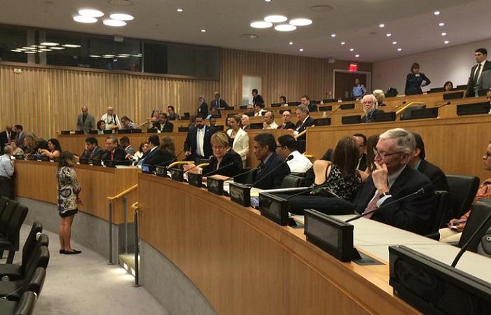 Una imagen del salón de conferencias de la ONU ayer, al inicio de las deposiciones de varios líderes puertorriqueños, entre ellos el gobernador Alejandro García Padilla. (Facebook: Rafael Lenín López)