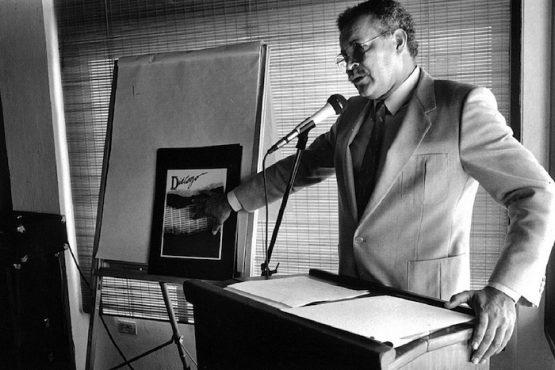 David Ortiz, primer director de Diálogo, presenta el concepto del proyecto a rectores/verano 1986