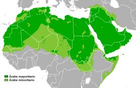 Países árabes de Medio Oriente y el norte de África. En verde oscuro, aquellos con mayoría de población árabe, en verde claro, los que tienen minoría árabe. Crédito: Dominio público
