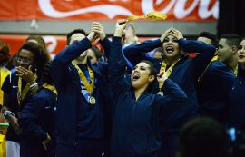 UPR Bayamón se alzó por novena ocasión con el oro ayer en la competencia de Baile de la LAI. (Manuel De Jesús/Diálogo)