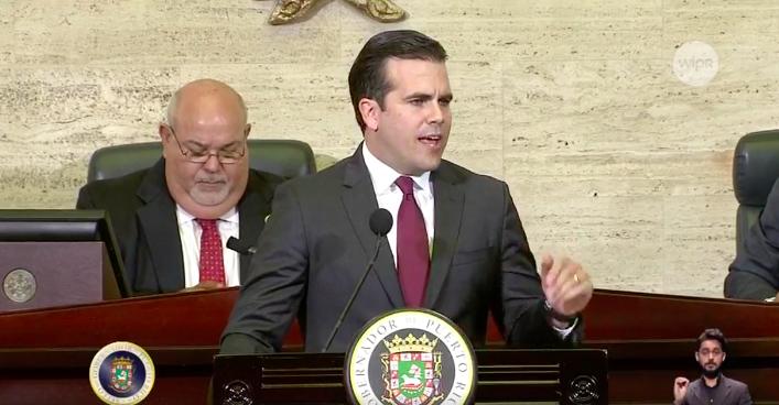 Rosselló Nevares ofreció hoy el mensaje del primer presupuesto de su administración. (Captura de pantalla)