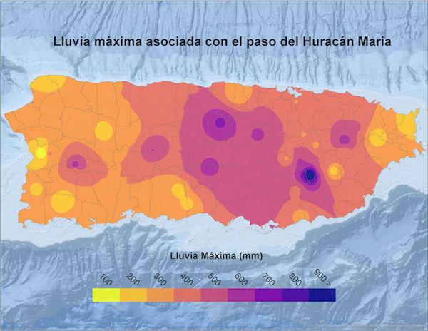 Mapa LLuvia Maria Ciencia PR